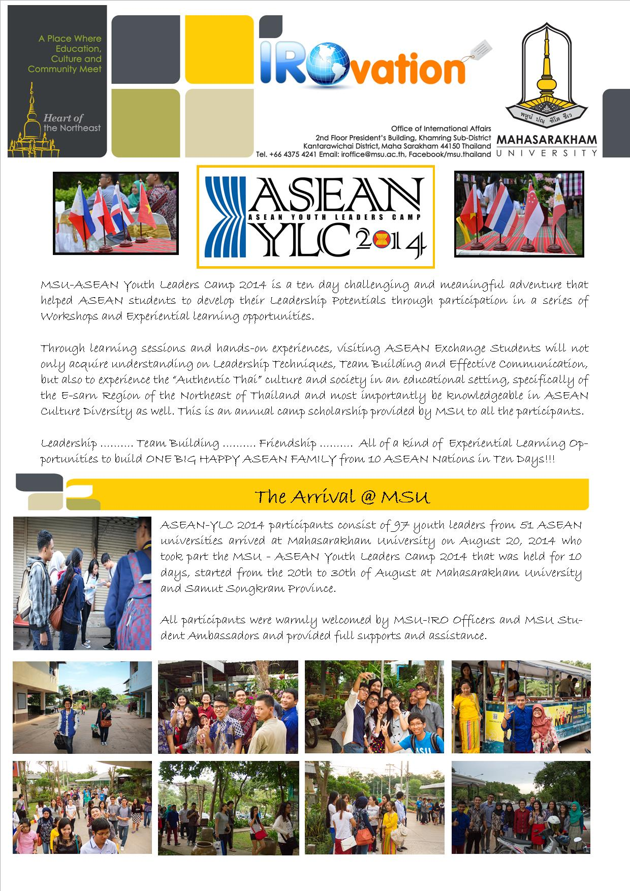 The Success of MSU-ASEAN Youth Leaders Camp 2014