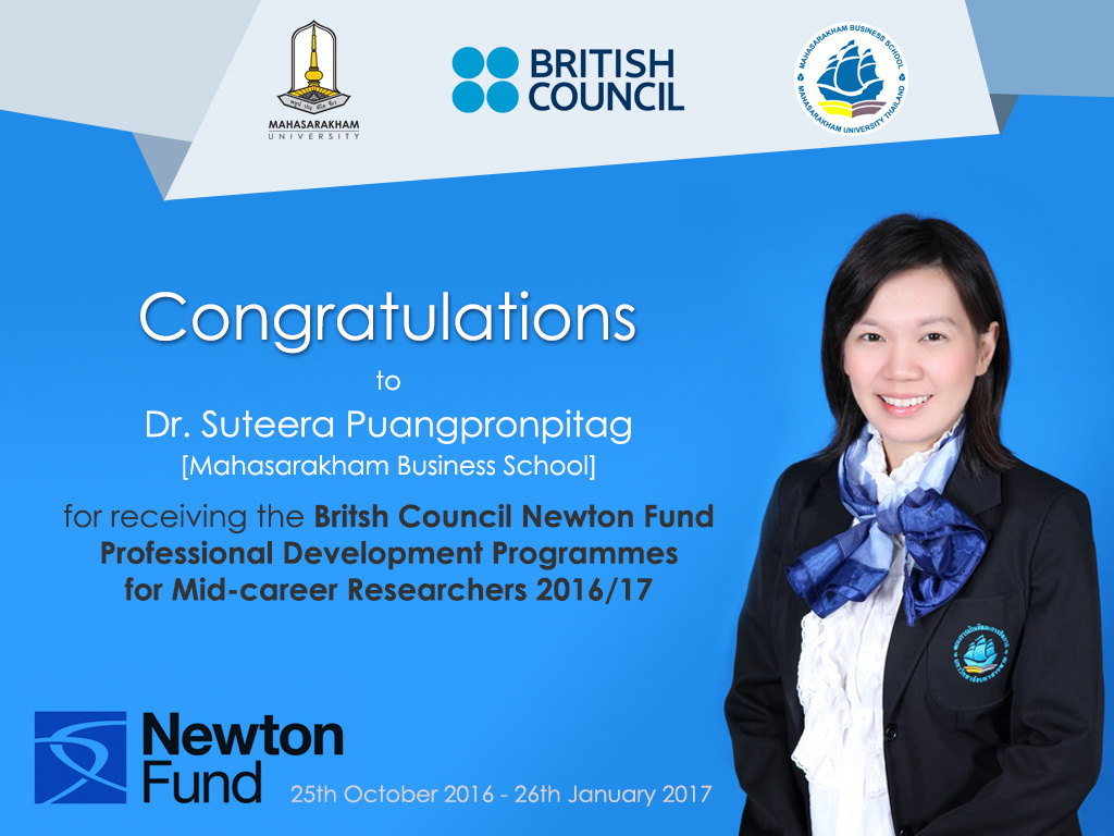 CONGRATULATIONS to British Council Newton Fund awardee!