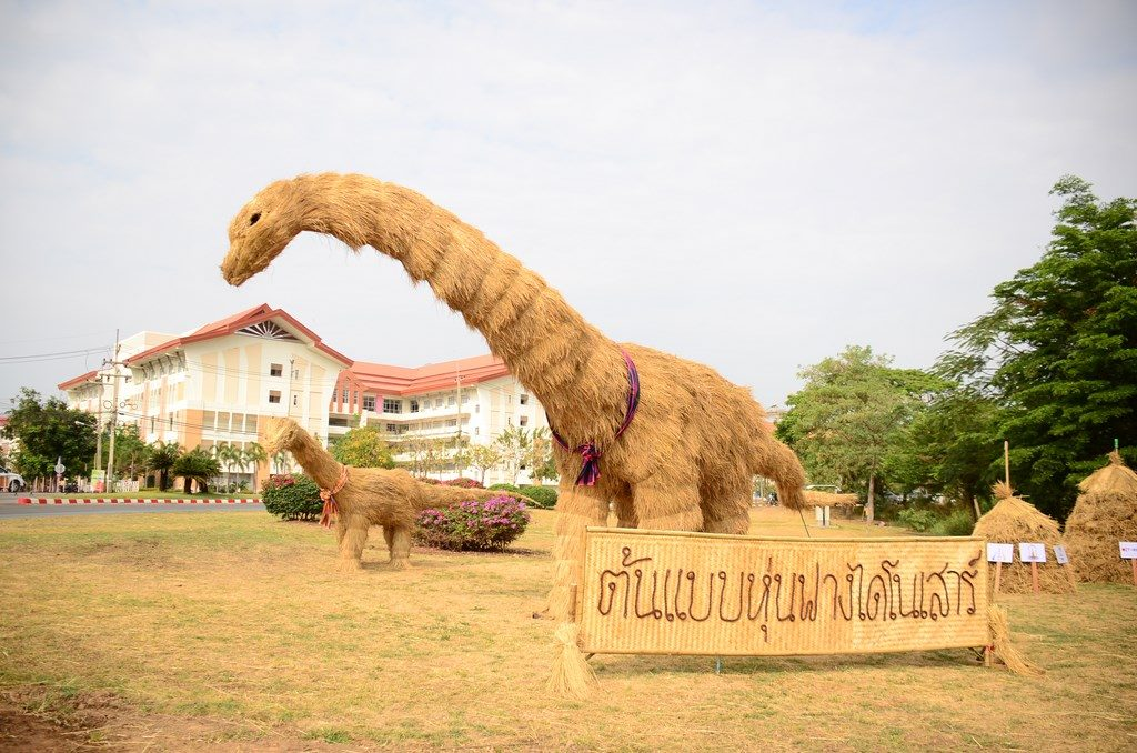 Grand Opening of the Phuwiangosaurus sirindhornae Straw Dinosaur Sculpture from Northeastern Thailand Experience