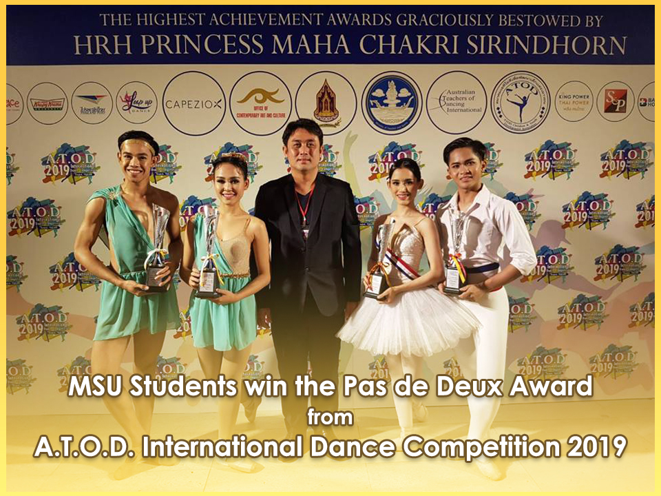 MSU Students win the Pas de Deux Award from A.T.O.D. International Dance Competition 2019