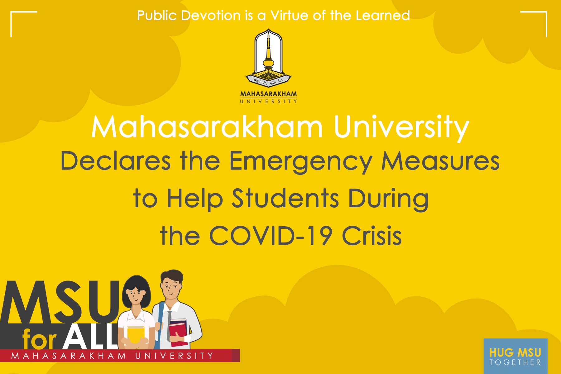 Mahasarakham University Declares the Emergency Measures to Help Students During the COVID-19 Crisis.