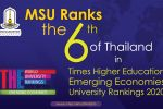 MSU Ranks the 6th of Thailand in Times Higher Education Emerging Economies University Rankings 2020