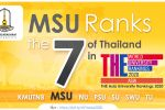 MSU Ranks the 7th of Thailand in THE Asia University Rankings 2020