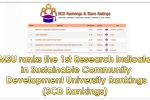 MSU ranks the 1st on Research Indicator in Sustainable Community Development University Rankings (SCD Rankings)